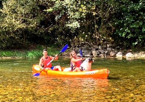 Perro pilotando canoa en río Sella Asturias